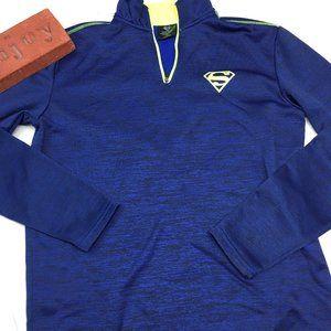 Super Man Logo Sweater Pullover Half Zip Blue Sz S